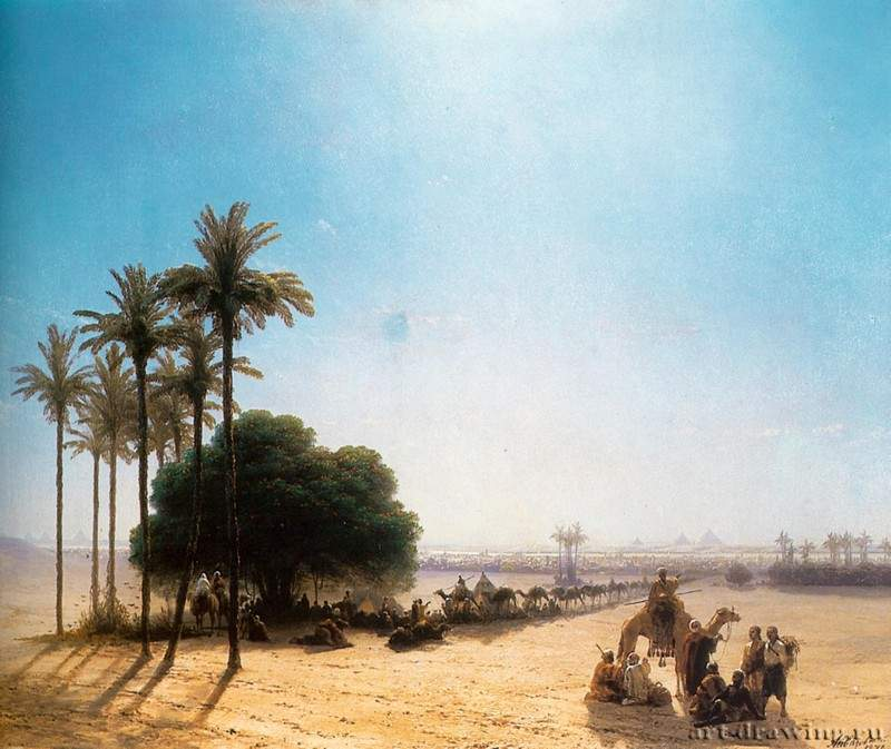 Караван в оазисе. Египет. 1871 - Caravan in the oasis. Egypt. 1871