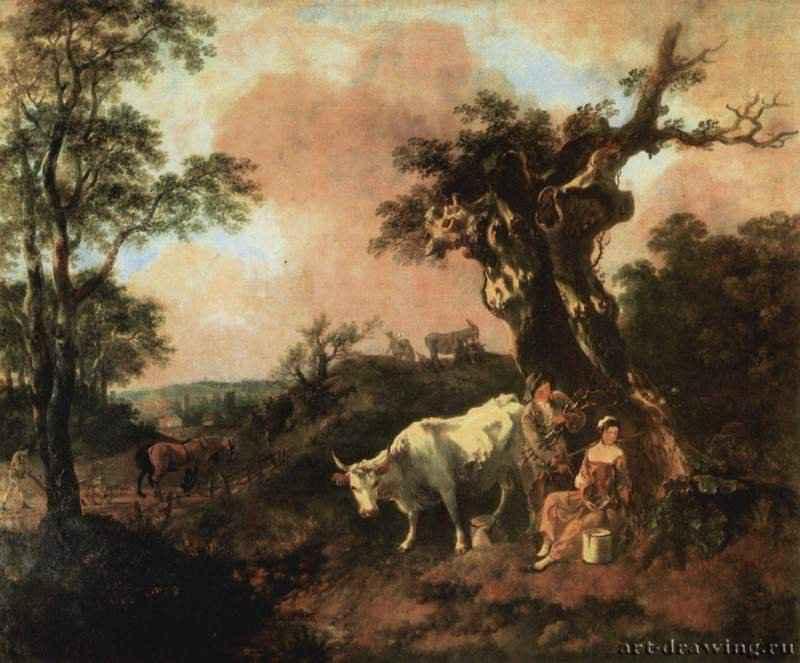 Лесоруб, флиртующий с пастушкой. 1755